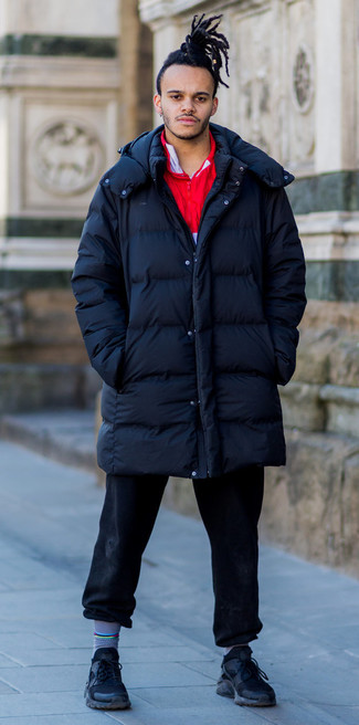 How to wear: navy puffer coat, red zip neck sweater, black jeans, black athletic shoes