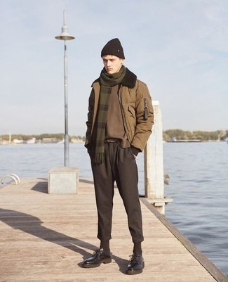 Dark Brown Socks Fall Outfits For Men: This urban combination of a brown puffer jacket and dark brown socks takes on different moods according to the way you style it out. A pair of dark brown chunky leather derby shoes easily steps up the style factor of this outfit. It's is a nice choice when it comes to a killer ensemble that transitions easily into fall.