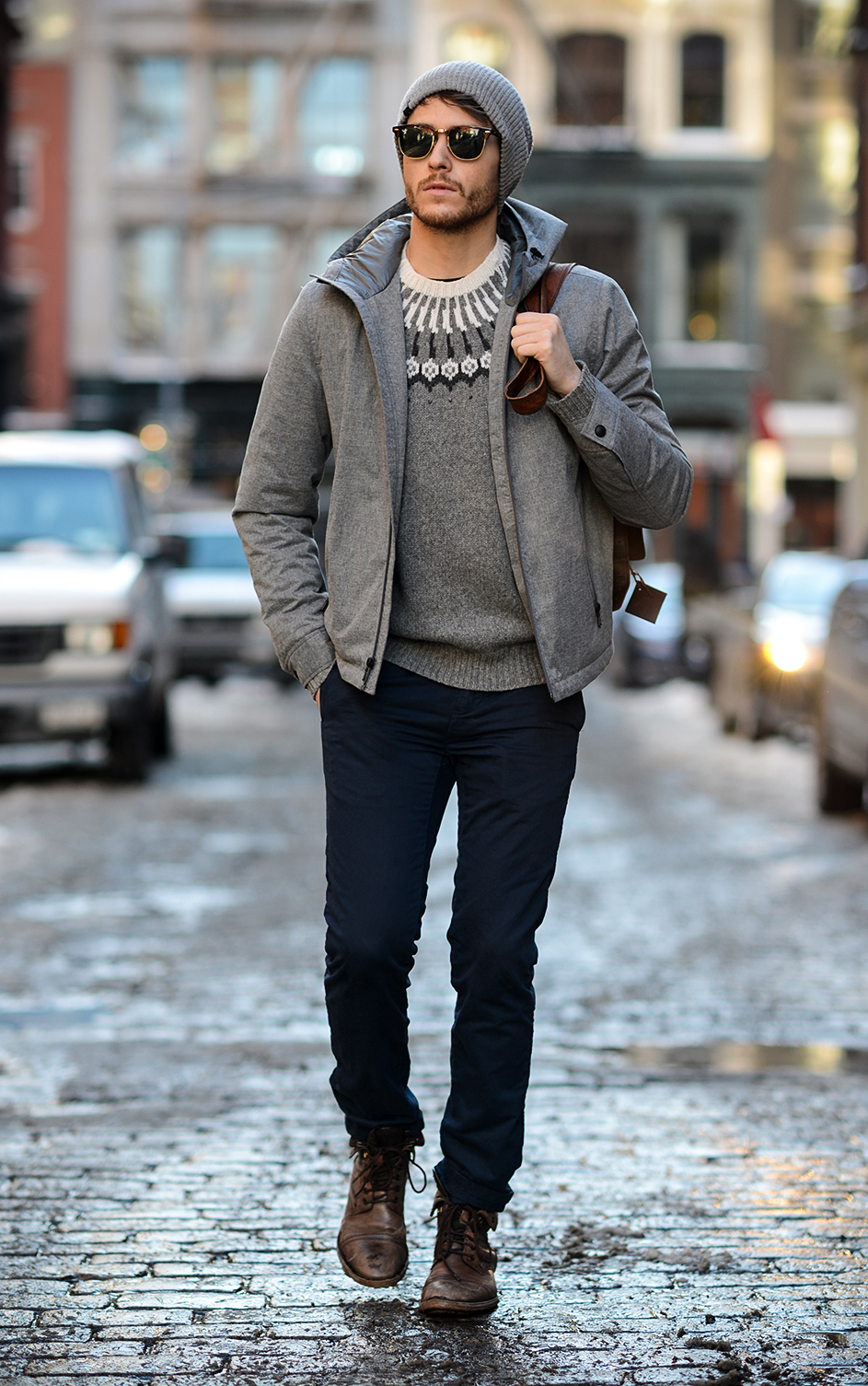 Grey Fair Isle Crew-neck Sweater | Men's Fashion