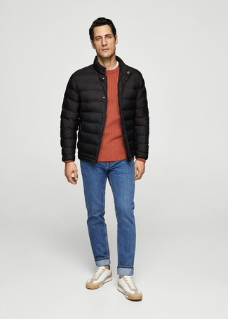 A puffer jacket and blue jeans are absolute must-haves if you're figuring out a refined wardrobe that holds to the highest fashion standards. White leather low top sneakers will add some edge to an otherwise classic look. This outfit is ideal for transitional weather.
