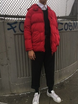 How to wear: red puffer jacket, black crew-neck sweater, white dress shirt, black chinos