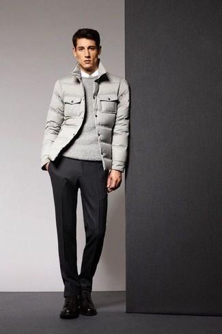 How to wear: grey puffer jacket, grey crew-neck sweater, white dress shirt, black wool dress pants