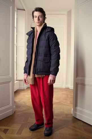 How to wear: navy puffer jacket, hot pink crew-neck sweater, red corduroy jeans, dark brown low top sneakers