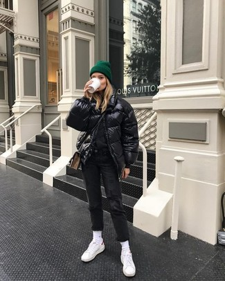 Consider wearing a black puffer jacket and a dark green beanie for a casual get-up. White low top sneakers will become an ideal companion to your style. Springtime is a wonderful time of year and it calls for knockout getups just like this one.