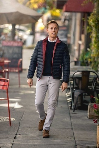 Men's Looks & Outfits: What To Wear In 2020: For an outfit that's absolutely camera-worthy, try pairing a black lightweight puffer jacket with beige chinos. A pair of tan suede desert boots is a surefire footwear style here that's full of personality.