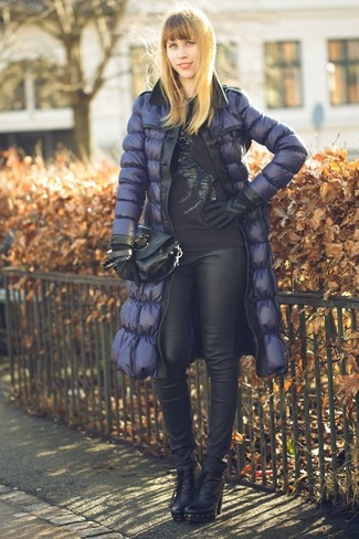 How to wear: navy puffer jacket, black embellished crew-neck sweater, black leather skinny pants, black leather ankle boots