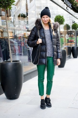How to wear: black puffer jacket, grey crew-neck sweater, green leather skinny pants, black chunky suede oxford shoes