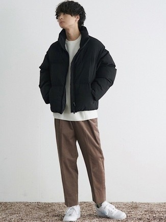 Men's Black Puffer Jacket, White Crew-neck T-shirt, Brown Corduroy Chinos, White and Blue Leather Low Top Sneakers