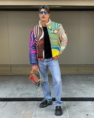 Puffer Jacket Outfits For Men: For a casually cool ensemble, consider wearing a puffer jacket and light blue jeans — these two items fit really good together. A trendy pair of black athletic shoes is a simple way to transform your outfit.