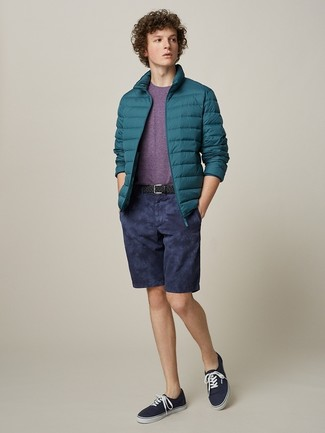 How to wear: teal puffer jacket, purple crew-neck t-shirt, navy shorts, navy canvas low top sneakers