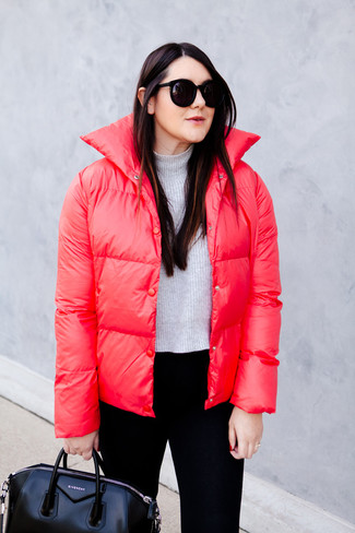 How to wear: red puffer jacket, grey cropped sweater, black skinny pants, black leather tote bag