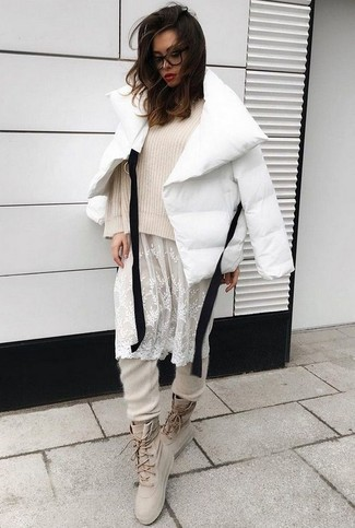 How to wear: white puffer jacket, beige knit cropped sweater, white floral lace tank dress, beige sweatpants