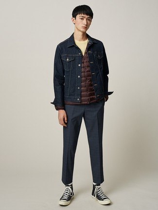 Which Denim Jacket To Wear With a Yellow Crew,neck T,shirt