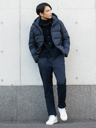 How to wear: navy puffer jacket, navy denim jacket, charcoal turtleneck, navy chinos