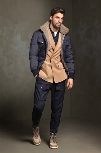 How to wear: navy puffer jacket, tan corduroy double breasted blazer, navy long sleeve shirt, white crew-neck t-shirt