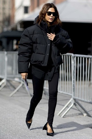 Packable Down Filled Puffer Jacket Black Small