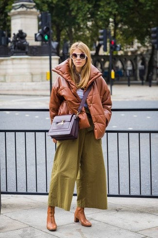 How to wear: tobacco leather puffer jacket, white henley shirt, olive culottes, tan leather ankle boots