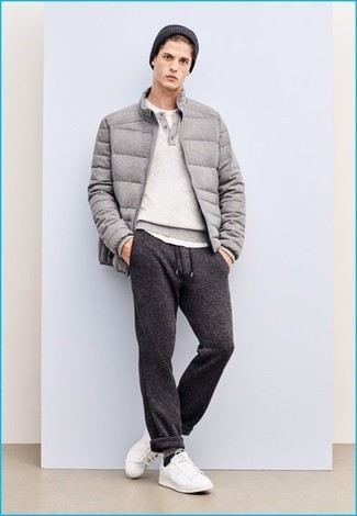 Go for a sophisticated look in a grey puffer jacket and a Cole Haan Lightweight Jersey Elongated Beanie. For footwear go down the casual route with white leather low top sneakers. If you feel uninspired by your transitional weather fashion options, this look just might be the inspiration you are looking for.