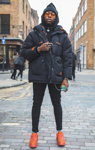 How to Wear Orange Sunglasses For Men: If you enjoy the comfort look, go for a navy puffer jacket and orange sunglasses. The whole look comes together when you complete your outfit with a pair of orange athletic shoes.