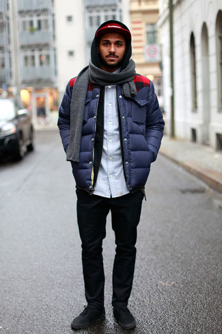 How to wear: navy puffer jacket, black hoodie, light blue denim shirt, black chinos