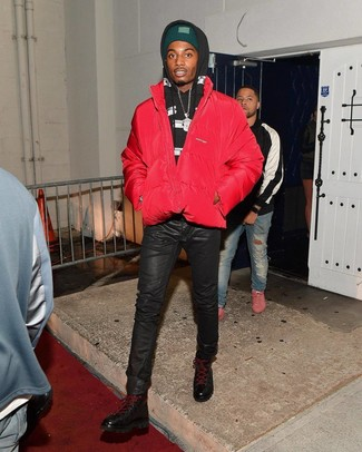 How to wear: red puffer jacket, black and white print hoodie, black leather jeans, black leather high top sneakers