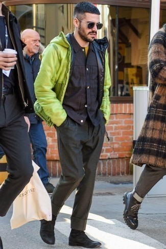 How to Wear Dark Green Sunglasses For Men: For an ensemble that's pared-down but can be manipulated in a myriad of different ways, rock a green-yellow puffer jacket with dark green sunglasses. And if you want to easily rev up this getup with shoes, why not add a pair of black suede chelsea boots to the equation?