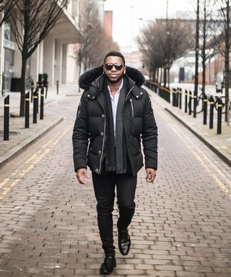 Puffer Jacket Outfits For Men: A puffer jacket and black jeans are the perfect way to inject a sense of masculine elegance into your current off-duty wardrobe. Dial up this whole look with a pair of black leather double monks.