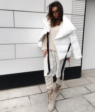 How to wear: white puffer jacket, beige oversized sweater, white lace tank dress, beige sweatpants