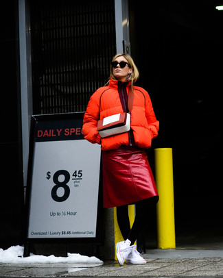 How to wear: orange puffer jacket, red leather pencil skirt, white canvas high top sneakers, red leather crossbody bag