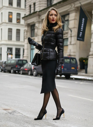 This combination of a black puffer jacket and black leather gloves gives off a very casual and approachable vibe. Take a classic approach with the footwear and go for a pair of black embellished satin pumps. As the weather starts to cool down, you'll discover that an ensemble like this is ideal for this time.
