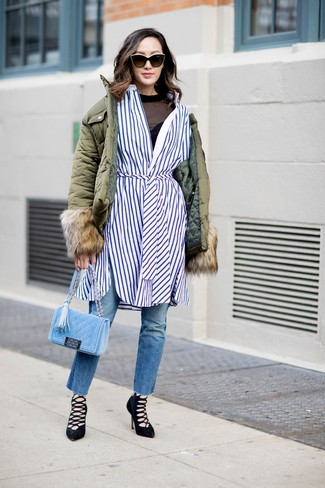 How to wear: olive puffer jacket, white and blue vertical striped shirtdress, black mesh long sleeve t-shirt, blue jeans