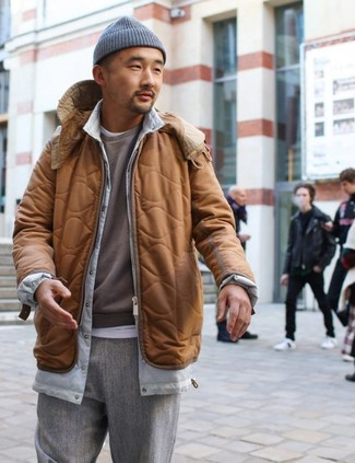 How to wear: tobacco puffer jacket, brown sweatshirt, white crew-neck t-shirt, grey wool dress pants