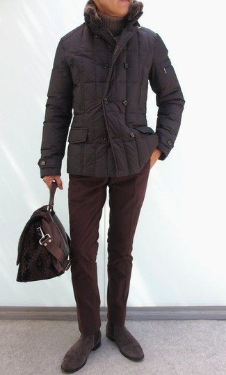 How to wear: dark brown puffer jacket, brown turtleneck, burgundy corduroy chinos, dark brown suede chelsea boots
