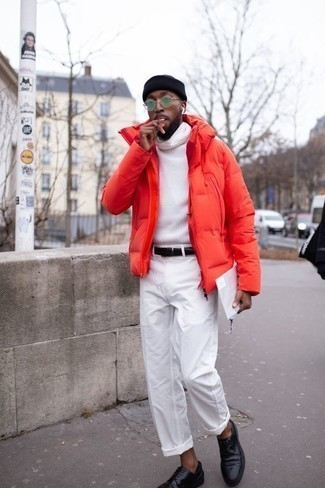 Men's Looks & Outfits: What To Wear In 2020: For a smart casual outfit, consider wearing a red puffer jacket and white chinos — these two items work well together. Want to break out of the mold? Then why not add a pair of black leather derby shoes to this getup?