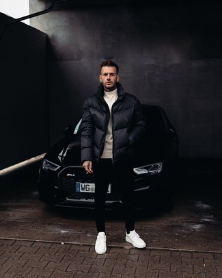 Puffer Jacket Outfits For Men: This semi-casual pairing of a puffer jacket and black chinos is very easy to pull together in seconds time, helping you look amazing and ready for anything without spending too much time going through your wardrobe. A pair of white canvas low top sneakers will bring a carefree vibe to your ensemble.