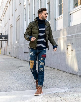 How to wear: dark green puffer jacket, navy and white horizontal striped turtleneck, blue patchwork jeans, brown leather brogue boots