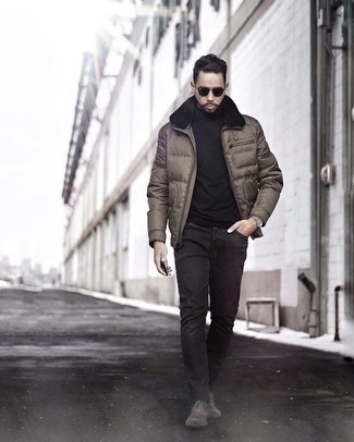 How to Wear a Leather Watch For Men: Why not wear a brown puffer jacket with a leather watch? These two items are totally comfortable and look awesome married together. Complete your look with dark brown suede chelsea boots for a bit of polish.