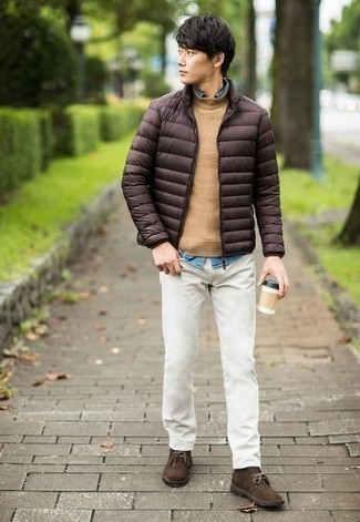 Dark Brown Suede Desert Boots Outfits: If the occasion calls for a casually classic outfit, consider pairing a dark brown lightweight puffer jacket with white jeans. A pair of dark brown suede desert boots is a great pick to finish off your look.