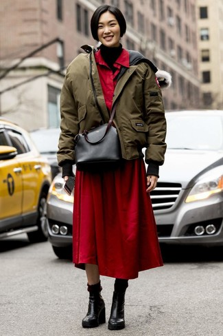 How to wear: olive puffer jacket, black knit turtleneck, red shirtdress, black leather wedge ankle boots
