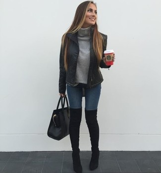 How to wear: black puffer jacket, grey turtleneck, navy skinny jeans, black suede over the knee boots