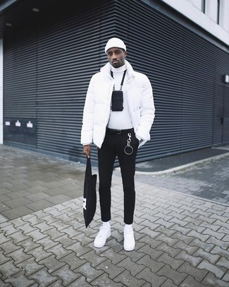 How to wear: white puffer jacket, white turtleneck, black skinny jeans, white leather low top sneakers