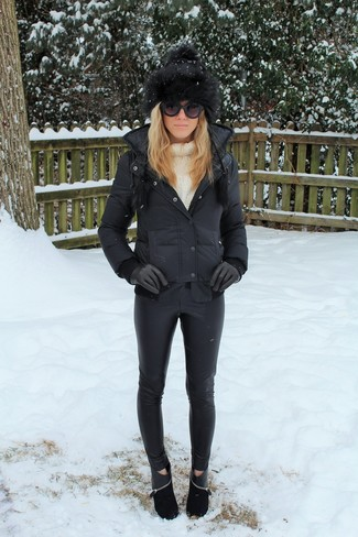 How to wear: black puffer jacket, white knit turtleneck, black leather skinny pants, black suede ankle boots