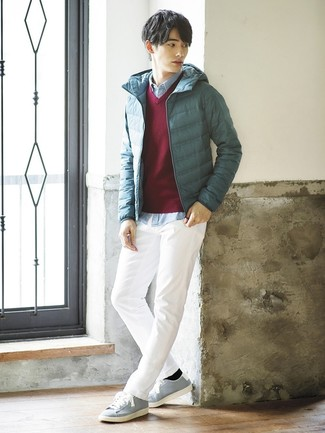 How to wear: teal puffer jacket, burgundy v-neck sweater, light blue chambray long sleeve shirt, white chinos