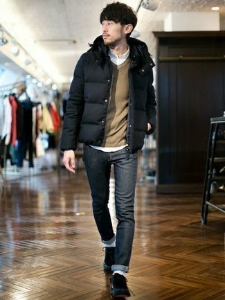 How To Wear Blue Jeans With Black Leather Boots For Men: Such must-haves as a black puffer jacket and blue jeans are an easy way to introduce toned down dapperness into your daily casual arsenal. Our favorite of a variety of ways to finish off this getup is with black leather boots.