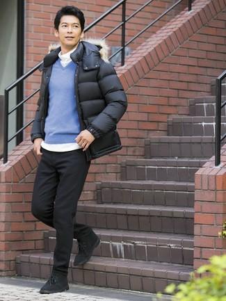 How to wear: black puffer jacket, blue v-neck sweater, white turtleneck, black jeans