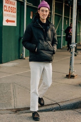 Purple Beanie Outfits For Men: This casual combo of a black puffer jacket and a purple beanie can take on different forms according to how you style it out. And if you want to effortlessly dress up your ensemble with shoes, complement your outfit with black leather desert boots.