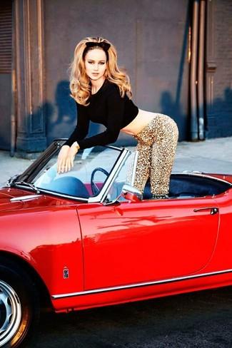 Pull court noir leggings imprimes leopard marron clair large 1179