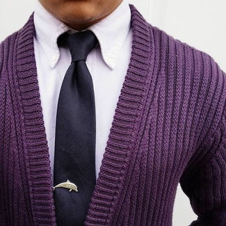 How to wear: purple cardigan, white dress shirt, black silk tie