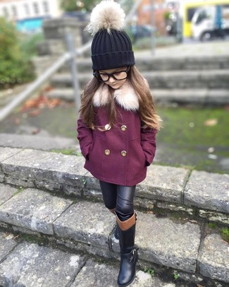 Girls' Looks & Outfits: What To Wear In 2020: Pairing a purple coat with black leather leggings is a comfortable option for a fun day with your daughter. Black boots are a nice choice to finish off this ensemble.