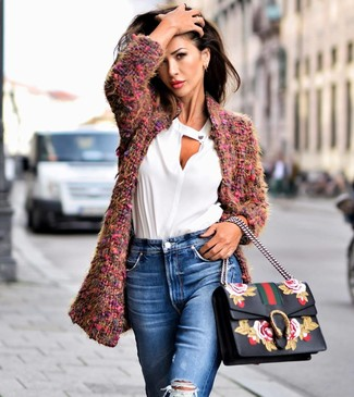 How to wear: purple boucle coat, white long sleeve blouse, blue ripped jeans, black floral leather satchel bag
